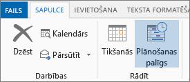 Plānošanas asistenta poga programmā Outlook2013.
