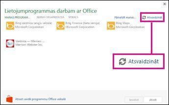 lietojumprogrammas darbam ar office: atsvaidzināšanas un office veikala pogas