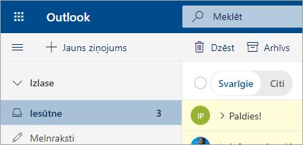 Ekrānuzņēmums ar e-pastu programmā Outlook tīmeklī beta