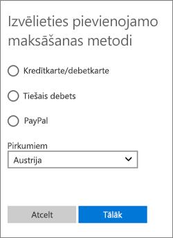 Izvēlne Maksāšanas iespējas izvēle, kurā tiek rādītas pieejamās iespējas Austrijai.
