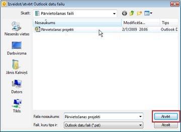 dialoglodziņš outlook datu faila izveide/atvēršana