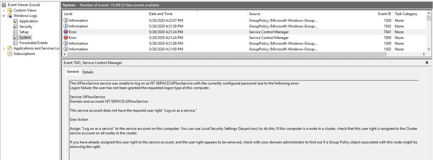 UIFlowService restartēt neveiksmes notikumu skatītājs