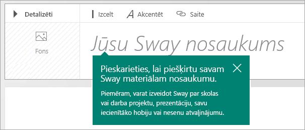 Virsraksta uzvedne Sway sižetā