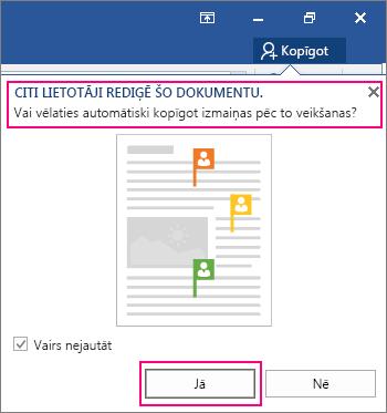 Uzvedne Citi lietotāji rediģē šo dokumentu tiek parādīta no koplietošanas komandas