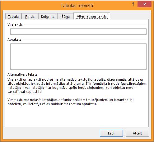 Cilne alternatīvais teksts dialoglodziņā tabulas rekvizīti