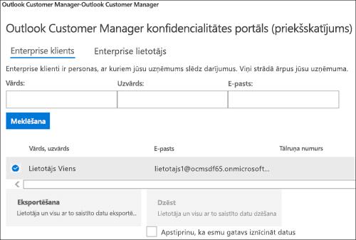 Ekrānuzņēmums: Eksportēt Outlook klientu vadītājs klienta datus