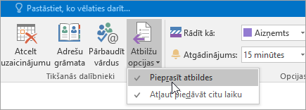 Ekrānuzņēmums ar pogu Pieprasīt atbildes programmā Outlook2016 darbam ar Windows