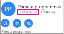 "Grupas vizītkartes paraugs ar izceltu ""Private Group"""