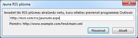 Ievadiet RSS plūsmas vietrādi URL