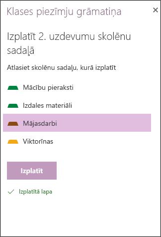 Izkliedētais uzdevumam programmā OneNote Online piemērs
