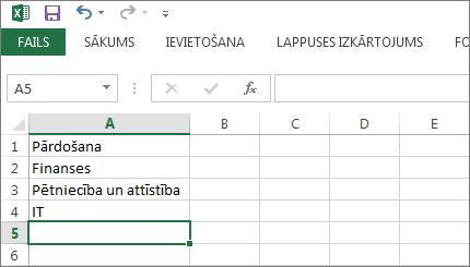 Savu ierakstu nolaižamā saraksta izveidošana vienā kolonnā vai rindā programmā Excel