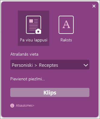 OneNote Clipper dialoglodziņa ekrānuzņēmums.