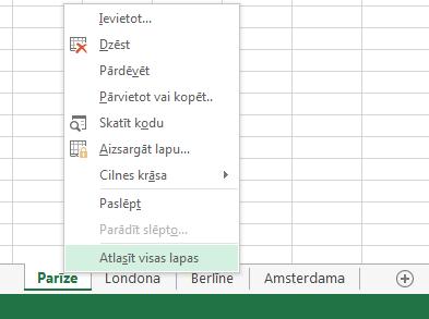 Kontekstizvēlnē ir atlasīta opcija Atlasīt visas lapas.