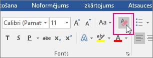 Cilnē Sākums ir iezīmēta ikona Notīrīt visu formatējumu