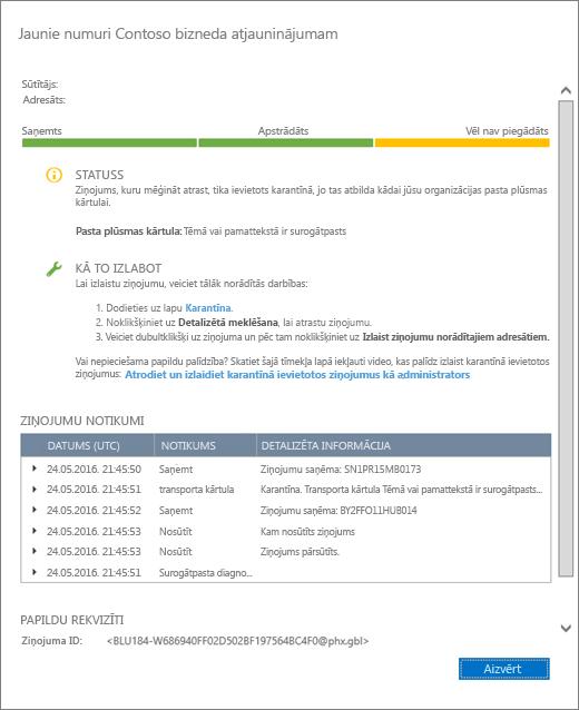 Ekrānuzņēmums ar ziņojumu izsekošanas informācijas lapu, kurā tiek rādīts piemērs par to, kā izskatās detalizēta informācija par ziņojumu izsekošanu.