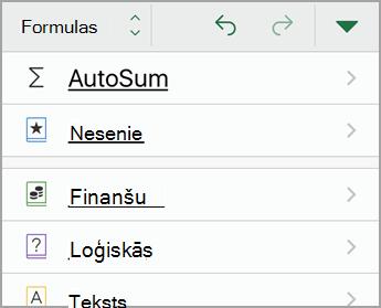 Atlasiet Automātiskā summēšana