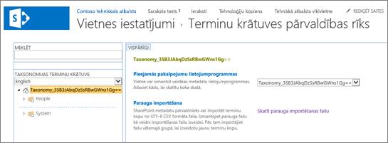 Terminu krātuves pārvaldības ekrāns