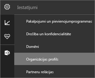 Ekrānuzņēmums: izvēlne Iestatījumi ar atlasītu opciju Organizācijas profils