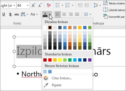 Izmantojiet fonta krāsu opcijas, lai mainītu teksta krāsu