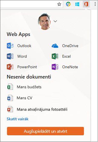 Noklikšķiniet uz Office Online pārlūkprogrammā Chrome paplašinājumi joslā, lai atvērtu Office Online panelī paplašinājumu.