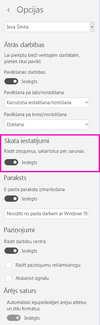 Sarunu skata izslēgšana pasta programmā operētājsistēmai Windows10