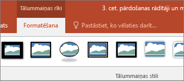Parāda tālummaiņas rīki, formatēšana cilni PowerPoint lentē.