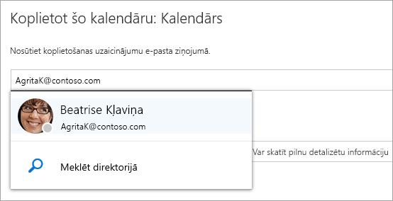 Ekrānuzņēmums ar kalendāra koplietošanas dialoglodziņu.
