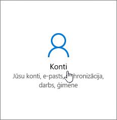 Windows iestatījumu sadaļā dodieties uz Konti