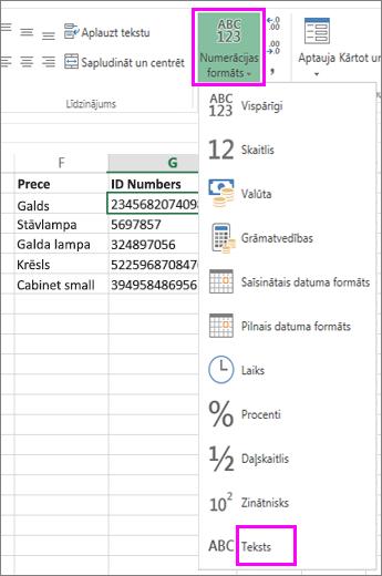 teksta formāta lietošana ar skaitļiem