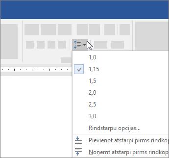 Opcijas, lai mainītu rindstarpas programmā Word