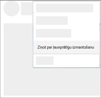 Ekrānuzņēmums, kurā parādīts, kā ziņojums ļaunprātīga izmantošana pakalpojumā OneDrive