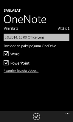 Attēlu sūtīšana uz programmu Word un PowerPoint pakalpojumā OneDrive