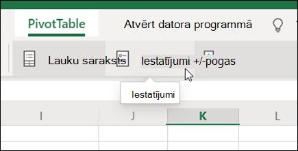 Poga Iestatījumi rakurstabulas cilnē programmā Excel tīmeklī