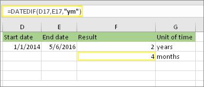 """=DATEDIF(D17,E17,""""ym"""") un rezultāts: 4"""