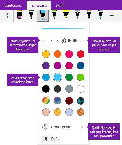 Tintes vilkuma platumu un krāsu opcijas programmā OneNote darbam ar Windows 10