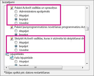 Atļauja ActiveX vadīklām veikt ielādi un darboties pārlūkprogrammā Internet Explorer