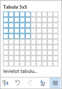 Tabulas režģis programmā Outlook tīmeklī.