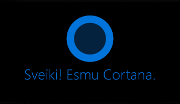 """Cortana logotips un vārdi """"Sveiki!"""". Esmu Cortana. """""""