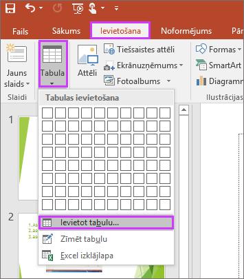 Tiek rādīta opcija Tabula cilnē Ievietošana PowerPoint lentē