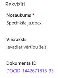Dokumenta ID, kas parādīts rūtī detalizēta informācija