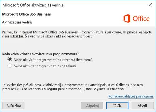 Rāda aktivizācijas vedni pakalpojumam Office 365 darbam