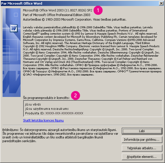 Par Microsoft Office Word 2003 logu