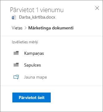 Ekrānuzņēmums ar OneDrive for Business failu pārvietošanai SharePoint vietnē