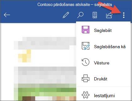 Izvēlne fails programmā Word darbam ar Android