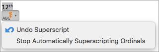 Tiek parādīta opcija Pārtraukt automātiski superscripting kārtas skaitļus