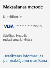 """Ekrānuzņēmums, kurā redzama saite """"Mainīt detalizētu informāciju par maksājumu""""."""