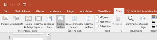 Slaidu šablons opcija ir cilnē fails.