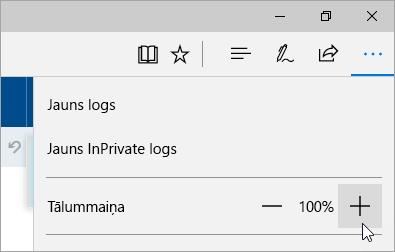 Ekrānuzņēmums, kurā iestatījumus un papildu izvēlnes Microsoft Edge