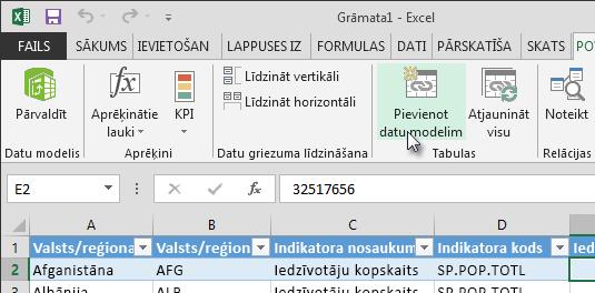 Jaunu datu pievienošana datu modelim