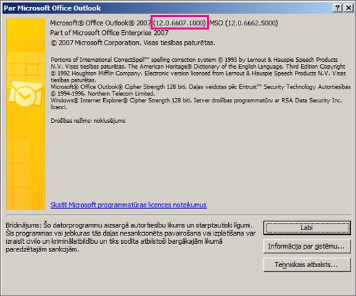 """Ekrānuzņēmums, kurā redzams, kur dialoglodziņā """"Par Microsoft Office Outlook"""" ir redzams Outlook 2007 versijas numurs."""